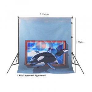 Background Inkjet 3D Kain Printing Ukuran 2,6 x 3 Meter TD-010
